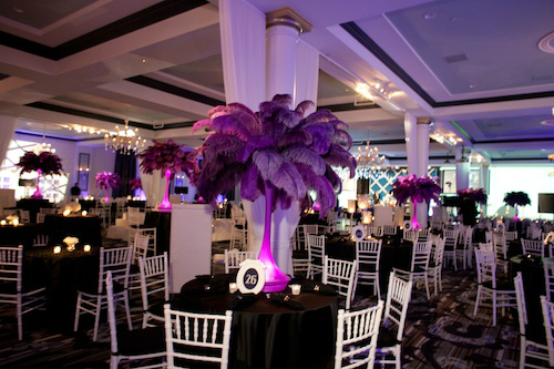 Purple Feathered Centerpieces